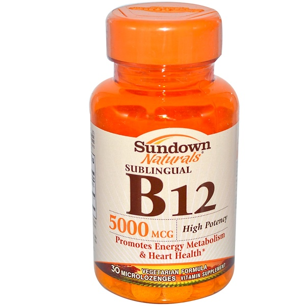 Sundown Naturals, High Potency Sublingual B12, 5000 mcg, 30 Microlozenges (Discontinued Item)