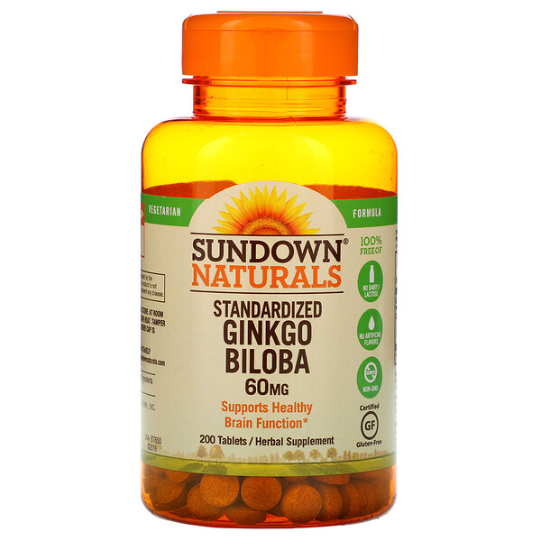Standardized Ginkgo Biloba, 60 mg, 200 Tablets