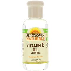 Sundown Naturals, Vitamin E Oil, 70,000 IU, 2.5 أونصة سائلة (75 مل)