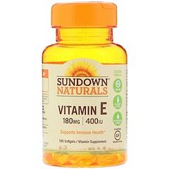 Sundown Naturals, Vitamina E, 180 mg (400 IU), 100 Cápsulas Gelatinosas