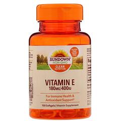 Sundown Naturals, ビタミンE、180mg (400 IU)、ソフトゲル100個