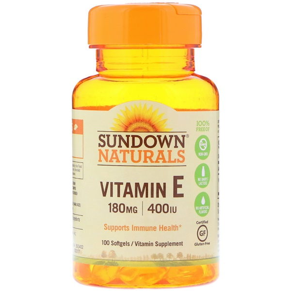 Sundown Naturals, Vitamin E, 180 mg (400 IU), 100 Softgels