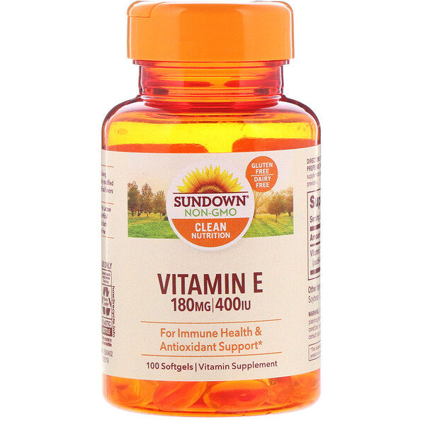 Sundown Naturals, Vitamine E, 180 mg (400 UI), 100 gélules