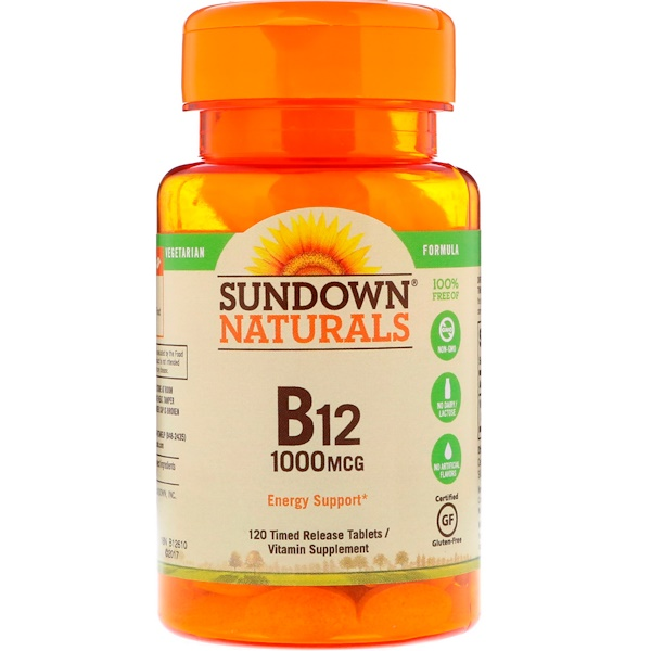 Sundown Naturals, Vitamin B12, 1000 mcg, 120 Timed Release Tablets