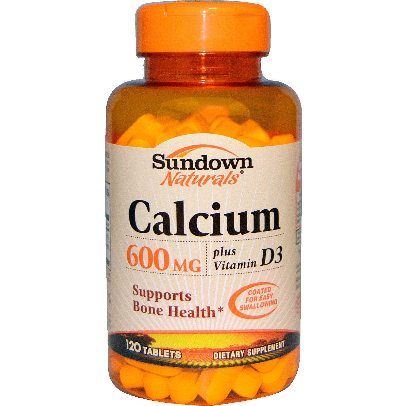 Sundown Naturals, Кальций плюс витамин D3, 600 мг, 120 таблеток