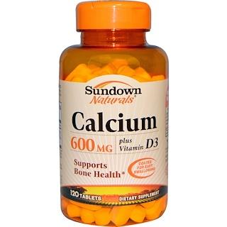 Sundown Naturals, Calcium, Plus Vitamin D3, 600 mg, 120 Tablets