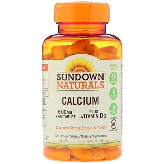 Sundown Naturals, Calcium, Plus Vitamin D3, 600 mg, 120 Coated Tablets