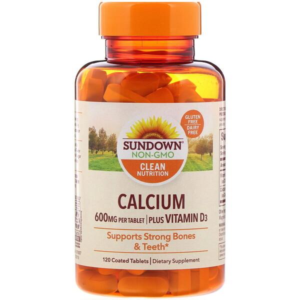 Sundown Naturals, Calcium, Plus Vitamin D3, 600 mg, 120 Coated Tablets (Discontinued Item)