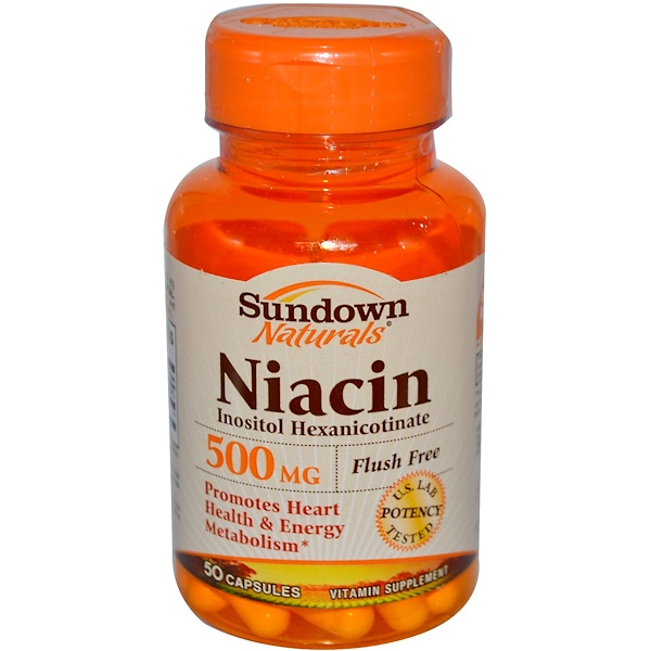 Sundown Naturals, Flush Free Niacin, 500 mg 50 Capsules (Discontinued Item)