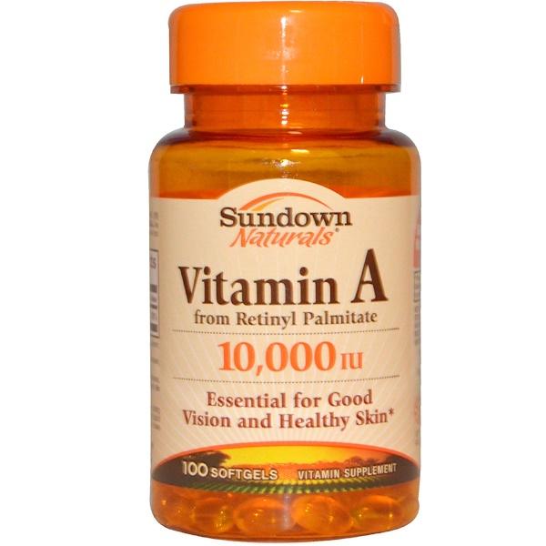 Sundown Naturals, Витамин А, 10000 МЕ, 100 мягких капсул (Discontinued Item)