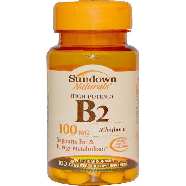 Sundown Naturals, High Potency B2, 100 mg, 100 Tablets (Discontinued Item)