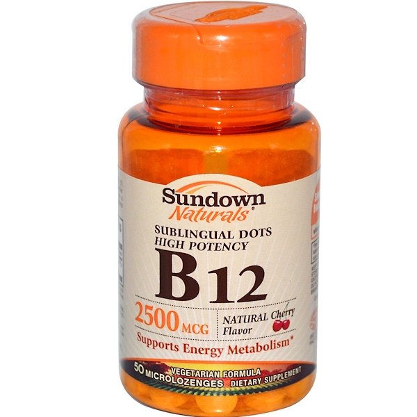 Sundown Naturals, High Potency B-12 Sublingual Dots, Natural Cherry Flavor, 2500 mcg, 50 Microlozenges (Discontinued Item)