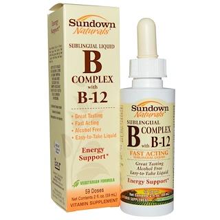 Sundown Naturals, B-Complex with B-12, Sublingual Liquid, 2 fl oz (59 ml)