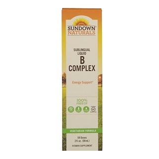 Sundown Naturals, خليط فيتامينات B تحت اللسان، B-12, 2 أونصة سائلة، (59 مل)