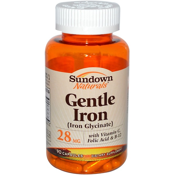 Sundown Naturals, Gentle Iron (Iron Glycinate), 28 mg, 90 Capsules (Discontinued Item)
