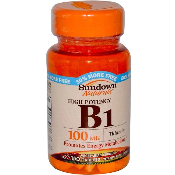 Sundown Naturals, Высокая эффективность, В1, Тиамин 150 таблеток (Discontinued Item)