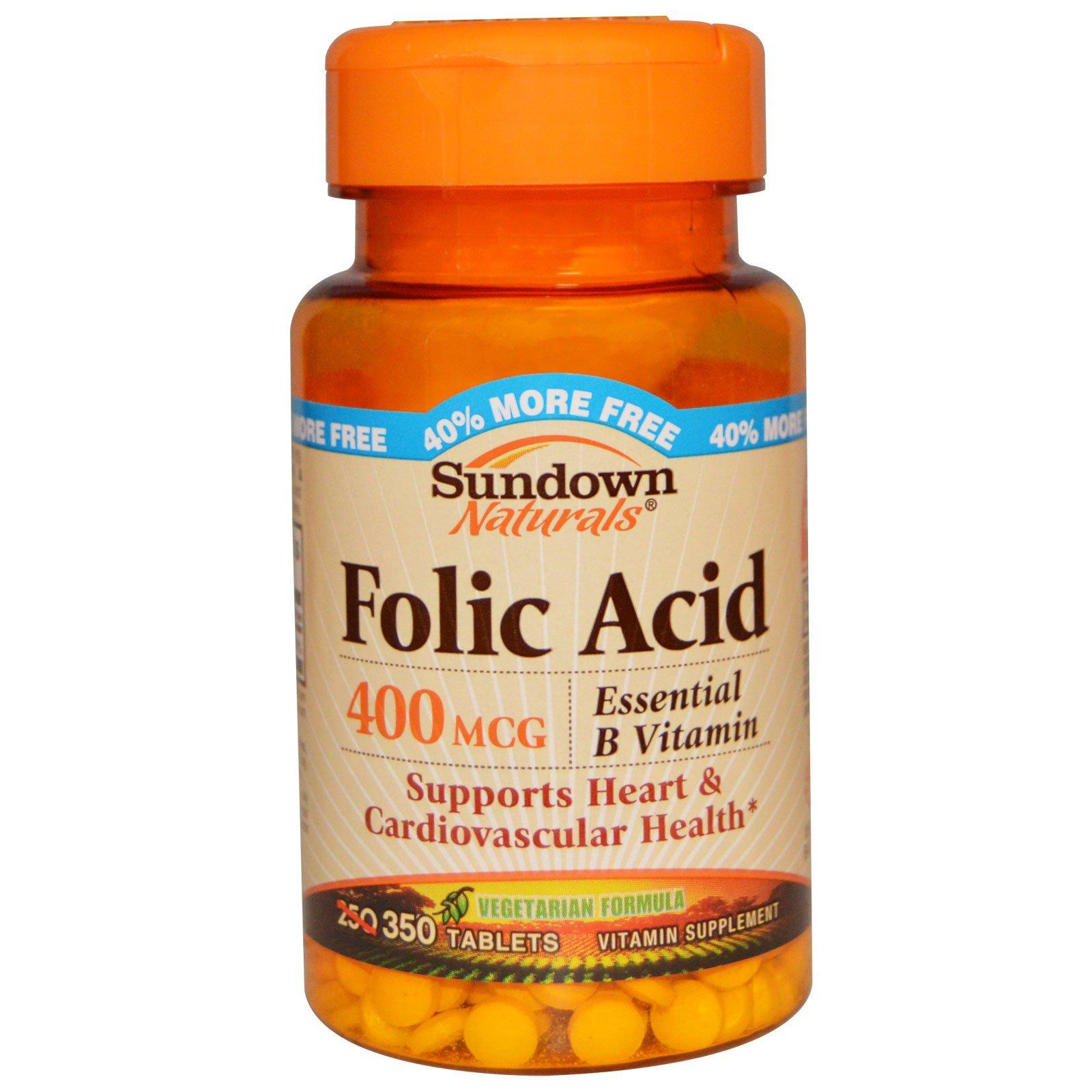 Sundown Naturals, Фолиевая кислота, 400 мкг, 350 таблеток