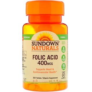 Sundown Naturals, Ácido fólico, 400 mcg, 350 tabletas