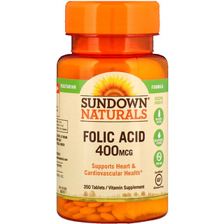 Sundown Naturals, Folic Acid, 400 mcg, 350 Tablets