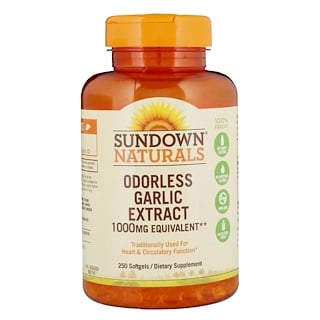 Sundown Naturals, Odorless Garlic Extract, 1,000 mg, 250 Softgels