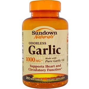 Sundown Naturals, Garlic, 1000 mg, 250 Odorless Softgels