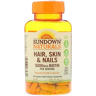 Sundown Naturals, Hair, Skin & Nails, 120 Caplets