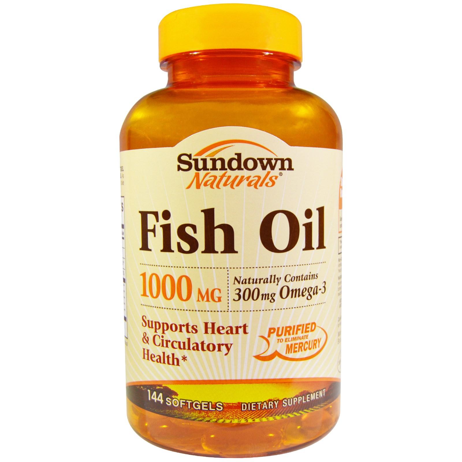 Sundown Naturals, Рыбий жир, 1000 мг, 144 мягких таблеток