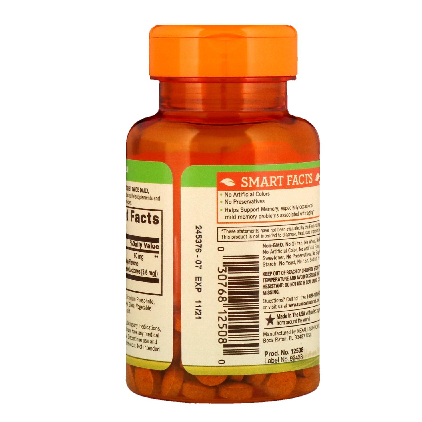 Sundown Naturals, Гинкго Билоба, стандартизированный экстракт, 60 мг, 100 таблеток