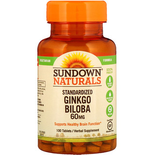 Sundown Naturals, Standardized Ginkgo Biloba, 60 mg, 100 Tablets