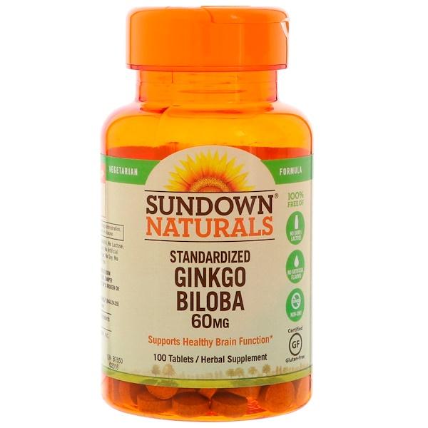 Sundown Naturals, Стандартизованный экстракт листьев гинко билоба, 60 мг, 100 таблеток