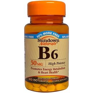 Sundown Naturals, 維生素B6,50毫克,150片