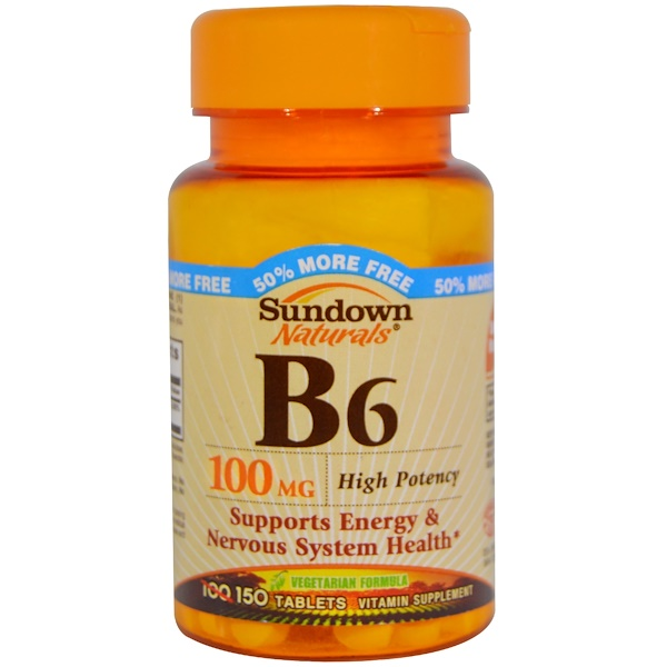 Sundown Naturals, B6, High Potency, 100 mg, 150 Tablets (Discontinued Item)