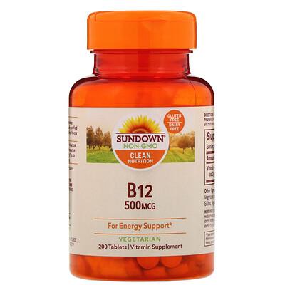 Купить Sundown Naturals B-12, 500мкг, 200таблеток