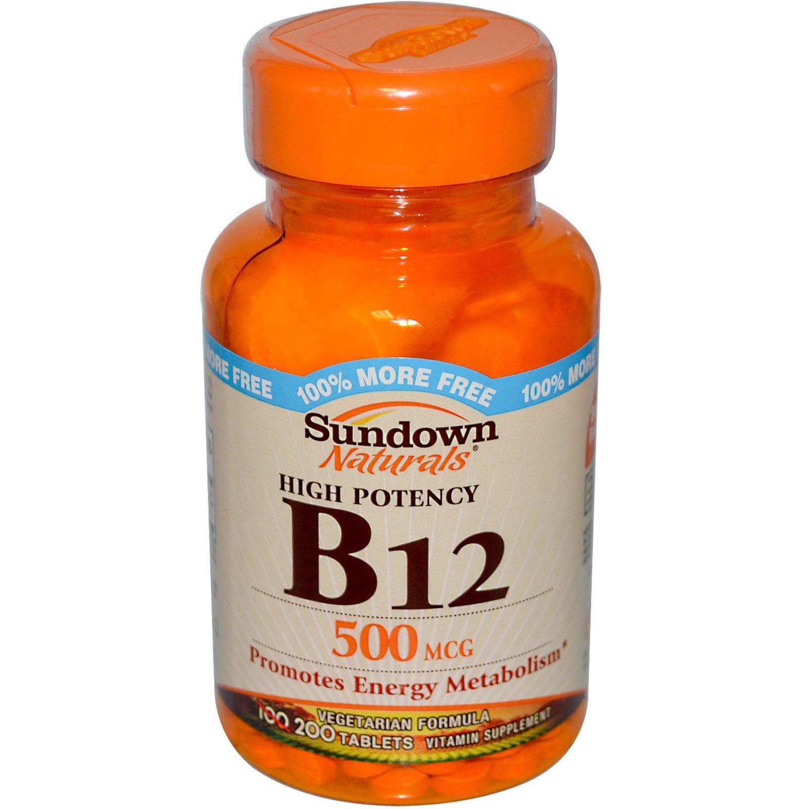 Sundown Naturals, B-12, высокоактивный, 500 мкг, 200 таблеток