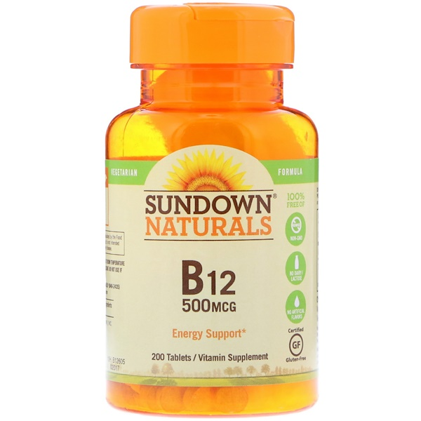 Sundown Naturals, B-12, 500 mcg, 200 Tablets