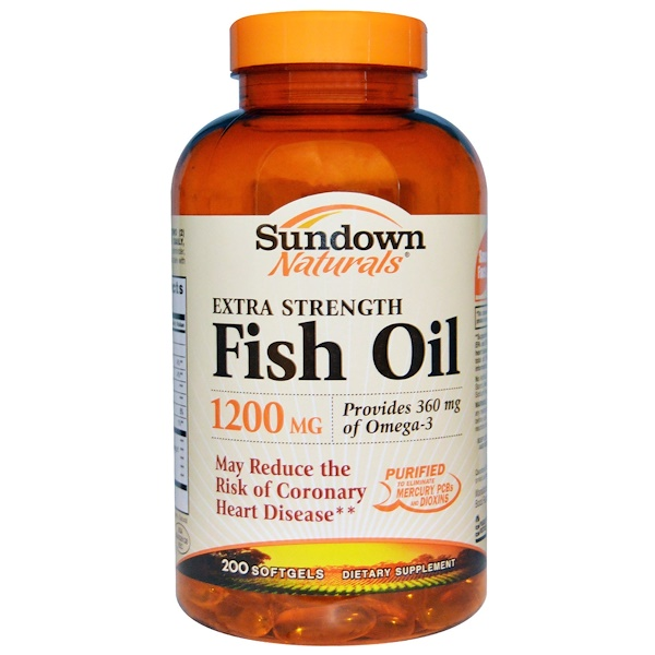 Sundown Naturals, Extra Strength Fish Oil, 1200 mg, 200 Softgels (Discontinued Item)