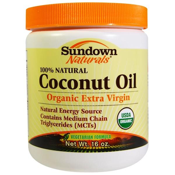Sundown Naturals, Organic Coconut Oil, 16 oz (Discontinued Item)