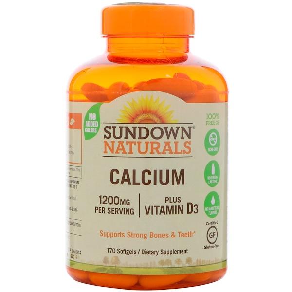 Sundown Naturals, 칼슘 플러스 비타민 D3(Calcium Plus Vitamin D3), 1200 mg, 170 소프트젤