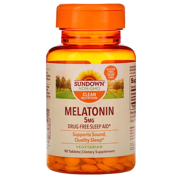 Sundown Naturals, Melatonina, 5 mg, 90 comprimidos