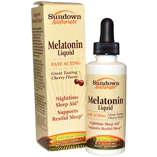 Sundown Naturals, Melatonin Liquid, Cherry Flavor, 2 fl oz (59 ml)