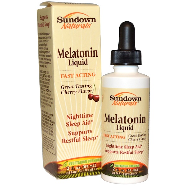 Sundown Naturals, Сублингвальный мелатонин в жидкой форме, с вишневым вкусом, 2 жидкие унции (59 мл)