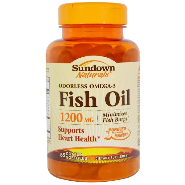 Sundown Naturals, Fish Oil, Odorless Omega-3, 1200 mg, 85 Coated Softgels (Discontinued Item)