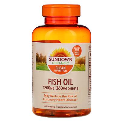 Купить Sundown Naturals Рыбий жир, 1200мг, 100мягких таблеток