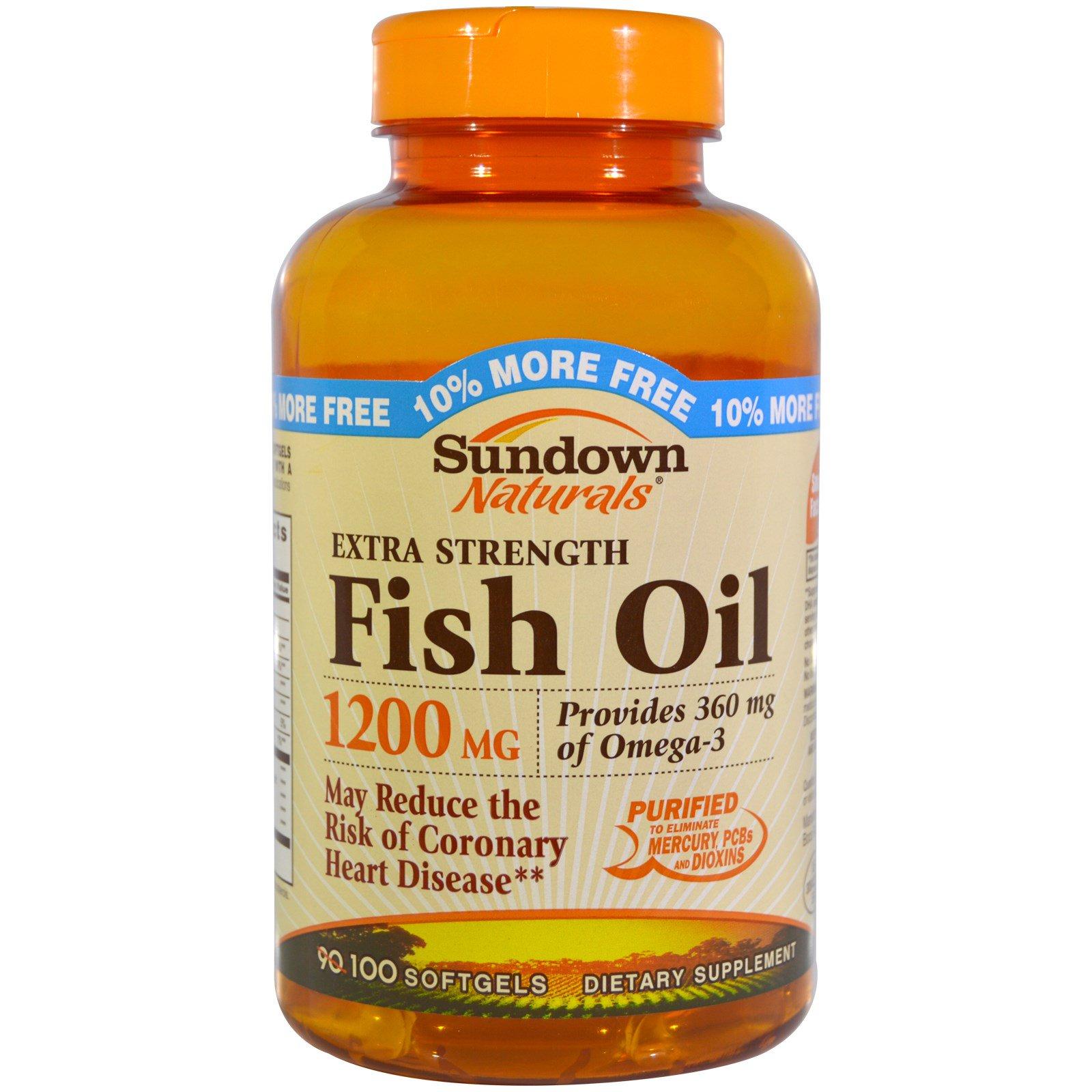 Sundown Naturals, Сверхсильный рыбий жир, 1200 мг, 100 мягких желатиновых капсул