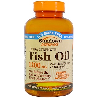 Sundown Naturals, Extra Strength Fish Oil, 1200 mg, 100 Softgels