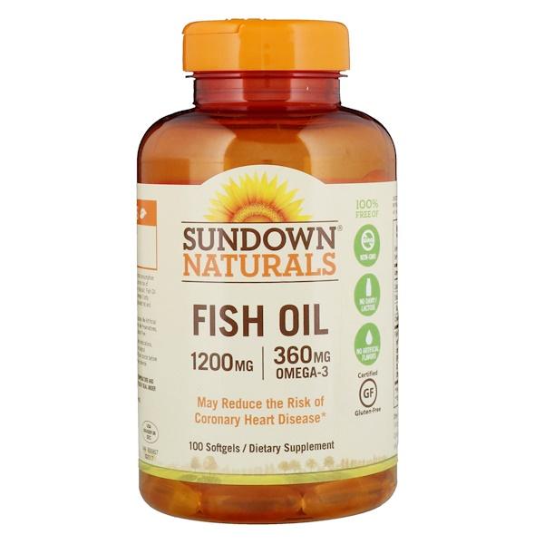 Sundown Naturals, Fish Oil, 1200 mg, 100 Softgels
