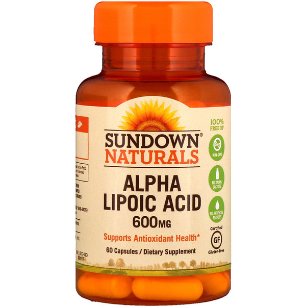 Sundown Naturals, アルファリポ酸、600 mg、カプセル60個