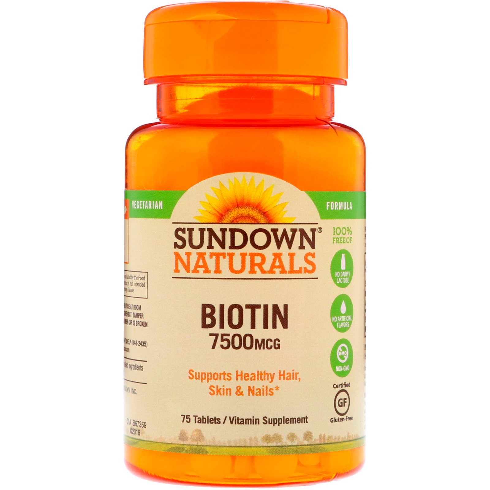 Sundown Naturals Biotin 7 500 Mcg 75 Tablets