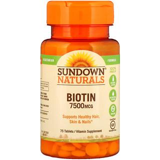 Sundown Naturals, Biotin, 7,500 mcg, 75 Tablets