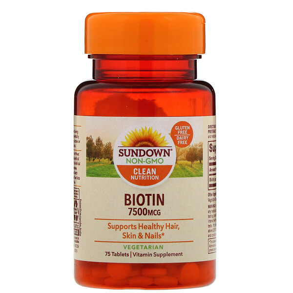 Sundown Naturals, Biotin, 7,500 mcg, 75 Tablets (Discontinued Item)